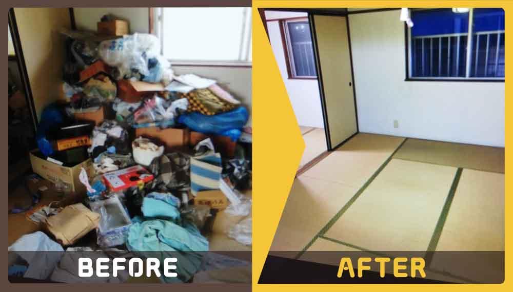 退去するにあたり、リビングやキッチン、お風呂場など家中にある家財回収のご依頼をいただきました。