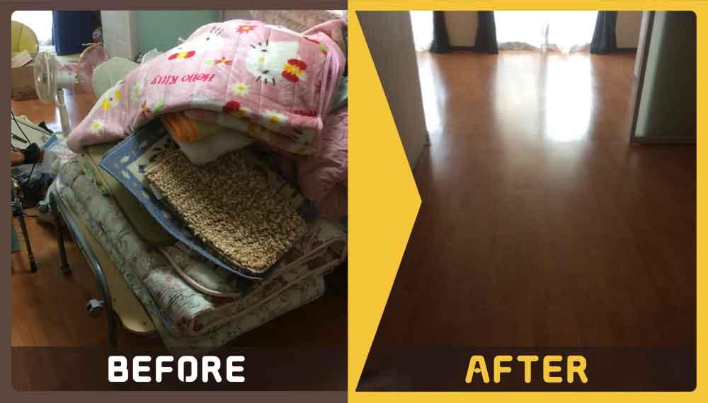 家財道具一式の大量の不用品(布団、ローテーブル、扇風機、椅子等)処分にお困りのお客様からご依頼をいただきました。
